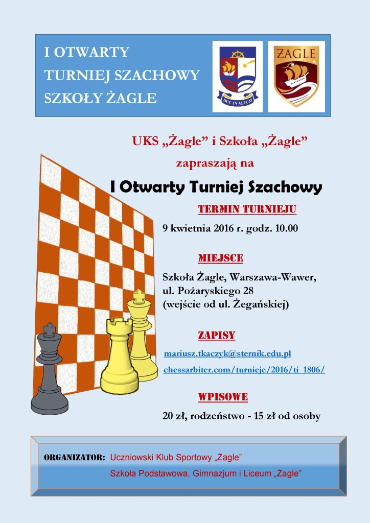 I Otwarty Turniej Szachowy 2016 - plakat